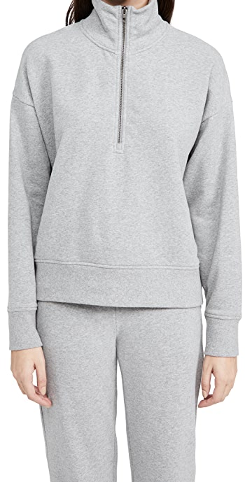 Vince Half Zip Pullover - Medium Heather Grey