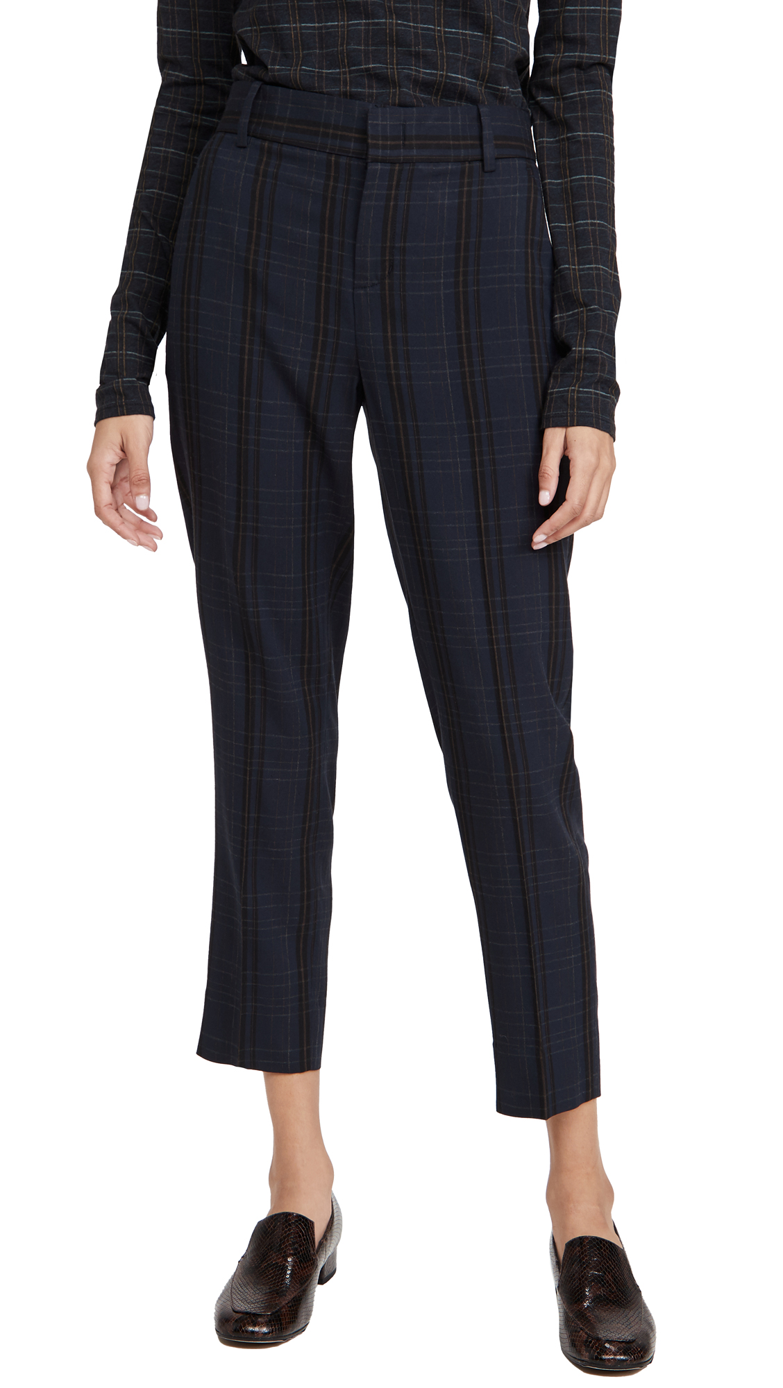 Vince SOFT MODERN PLAID TAPERED TROUSERS