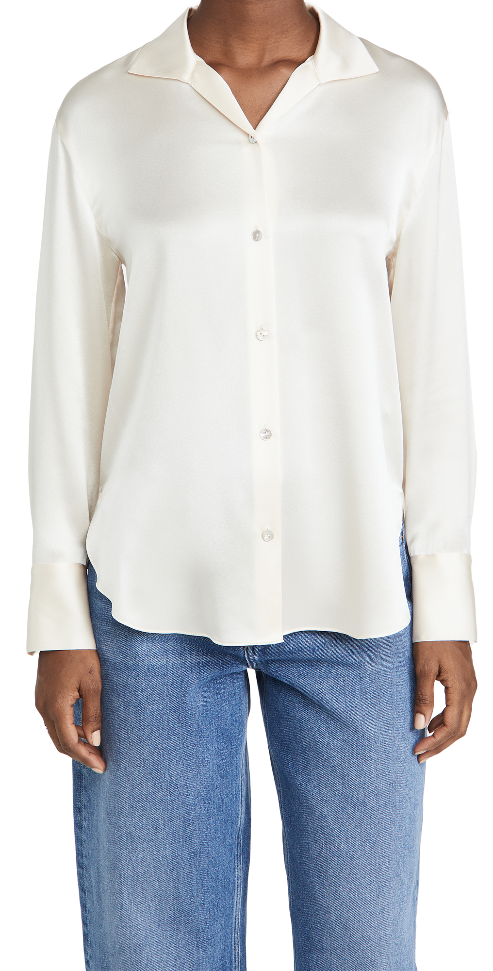 Vince Collar Stand Satin Blouse