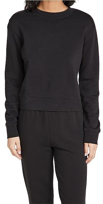 Vince Essential Shrunken Pullover Sweatshirt - Black