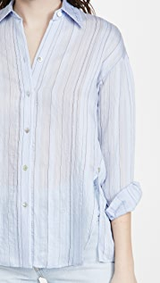 Vince 垂褶条纹多种穿法系扣上衣