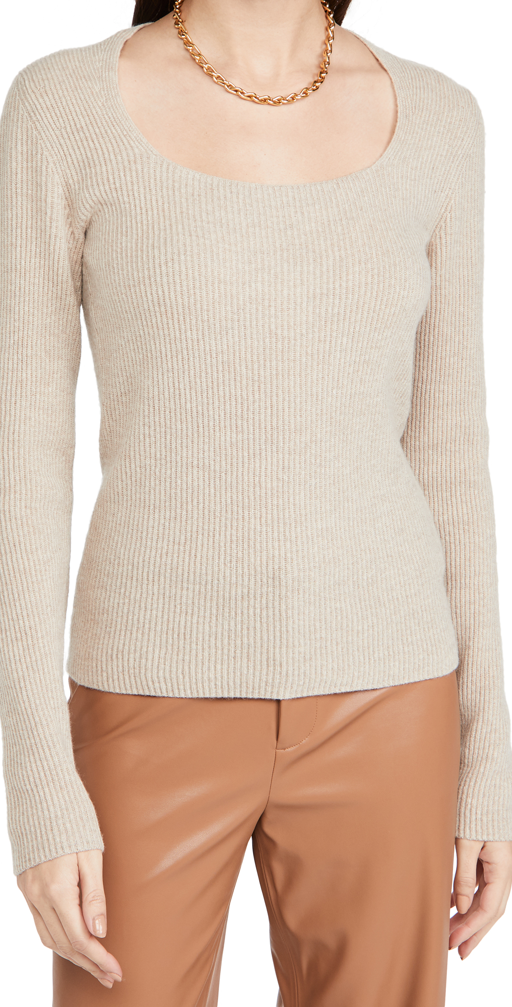 Vince Cashmere Ribbed Square Neck Sweater