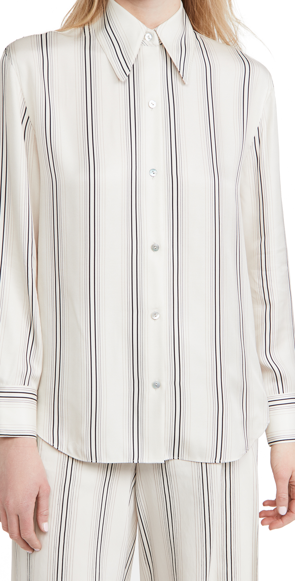 Vince Fine Variegated Stripe Button Down Shirt