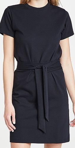 Vince - 腰部绑带短袖连衣裙