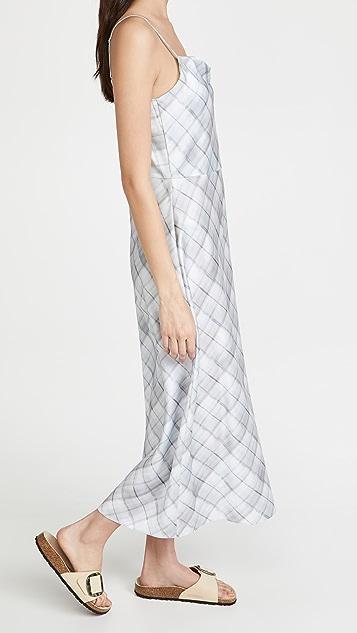 Vince 朦胧格子垂褶领衬裙