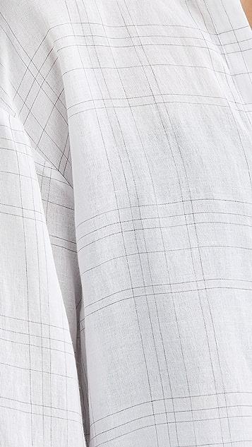 Vince Plaid Wide Cuff Button Down Shirt