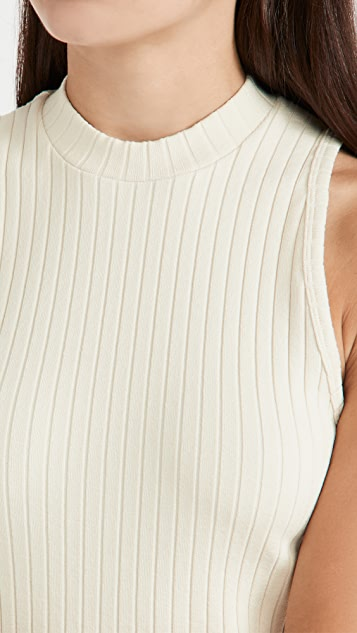 Vince Ribbed High Neck Tank