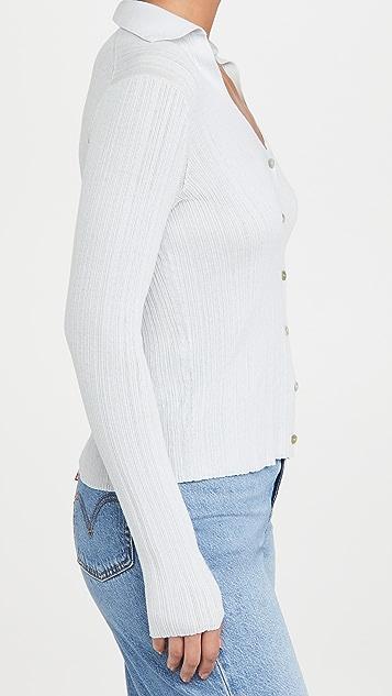 Vince 罗纹马球衫系扣衫