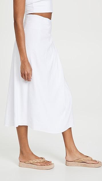 Vince Tie Front Linen Skirt