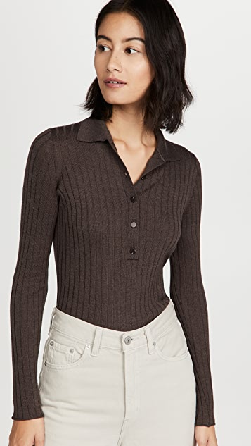 Vince Ribbed Polo Pullover
