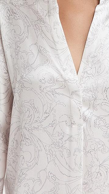 Vince 花卉素描立领女衫
