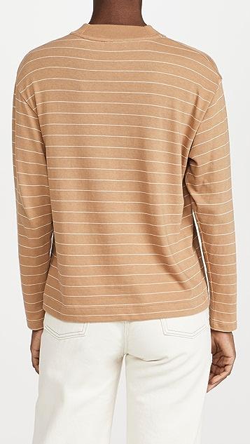 Vince Chalk Stripe Mock Neck Pullover