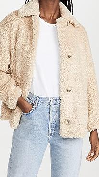 빈스 에코퍼 자켓 Vince Textured Faux Fur Jacket,Light Fauna