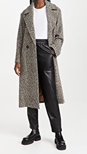Vince Double Breasted Pebbled Trench Coat