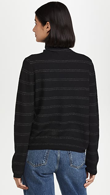 Vince Striped Fitted Cashmere Turtleneck