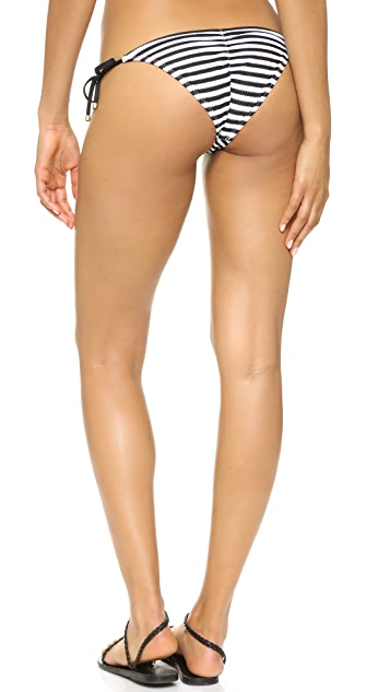 Vitamin A Natalie Mitered Stripe Tie Side Bikini Bottoms