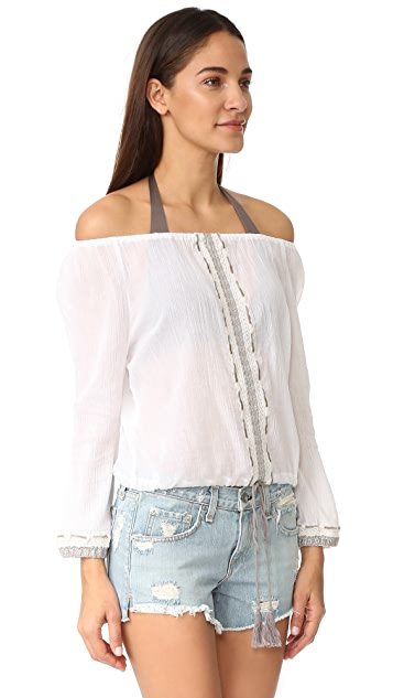 Vitamin A Capri Cropped Peasant Top