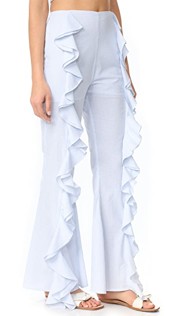 Viva Aviva Split Ruffle Bell Bottom Pants