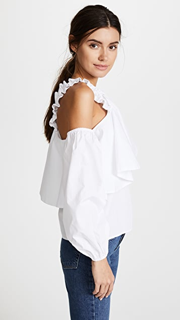 Viva Aviva Cold Shoulder Puff Sleeve Top