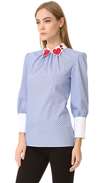 Vivetta Heart Collar Long Sleeve Blouse