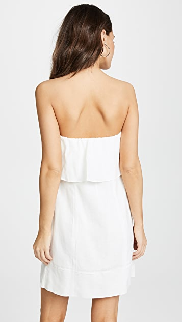 ViX Swimwear Off White Strapless Button Dress