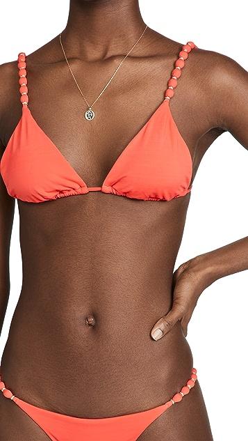 ViX Swimwear Solid Beads Triangle Bikini Top