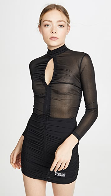 Versace Jeans Couture Turtleneck Rouched Dress
