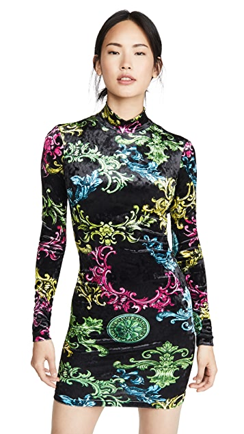 Versace Jeans Couture Printed Long Sleeve Dress