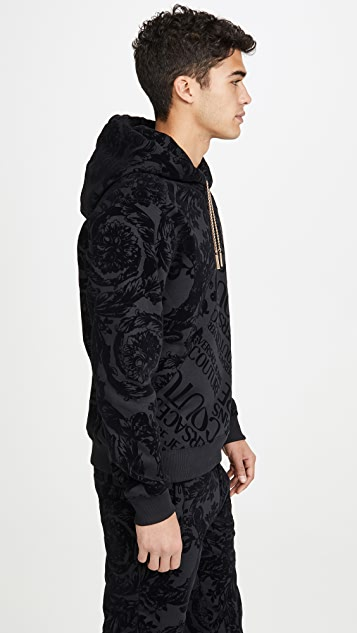 Versace Jeans Couture Flocked Paisley Pullover Hoodie