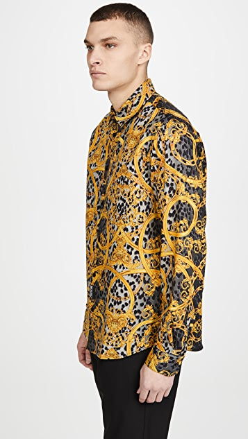 Versace Jeans Couture All Over Print Long Sleeve Button Down Shirt