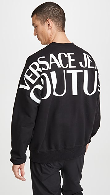 Versace Jeans Couture Big Versace Logo Crew Neck Sweatshirt