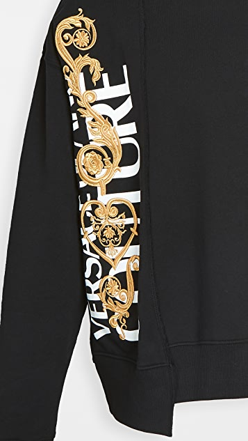 Versace Jeans Couture Asymmetrical Logo Crew Neck Sweater