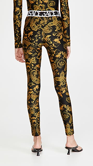 Versace Jeans Couture 佩斯利印花贴腿裤