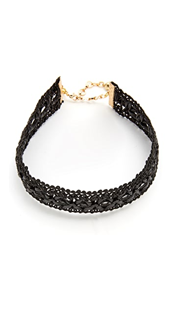 Vanessa Mooney Leather Lace Choker Necklace