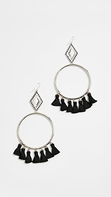 Vanessa Mooney Ania Tassel Hoop Earrings - Black