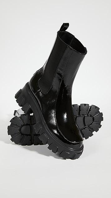 Villa 胭脂红 Painter 沟纹鞋底短靴