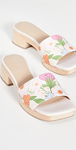 Villa Rouge - Sage Multi Poppy Floral Printed Clogs