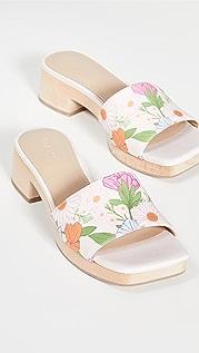 Villa Rouge Sage Multi Poppy 花卉印花木底鞋