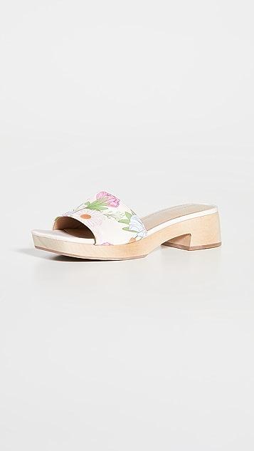 Villa 胭脂红 Sage Multi Poppy 花卉印花木底鞋