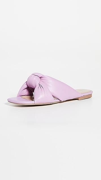 Villa 胭脂红 Maddox Puffy 褶皱凉鞋