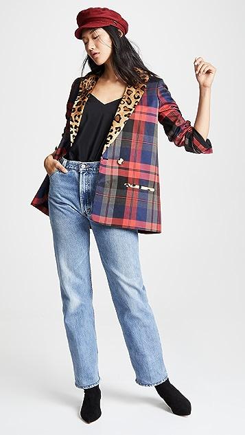 Valentina Shah Claire Blazer with Leopard Trim