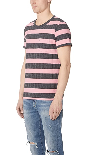 Velva Sheen Big Stripe Short Sleeve Tee