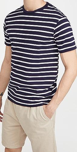 Velva Sheen - Uneven Striped Short Sleeve Crew Tee