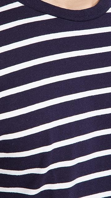 Velva Sheen Uneven Striped Short Sleeve Crew Tee