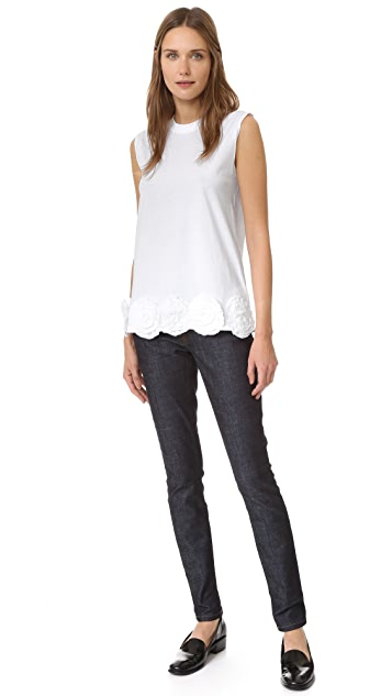 Victoria Victoria Beckham Sleeveless Flower Applique Tee