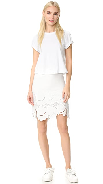 Victoria Victoria Beckham Embroidered Hem Skirt