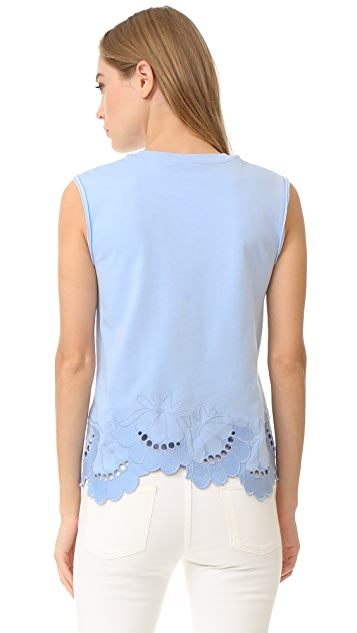 Victoria Victoria Beckham Embroidered Sleeveless Tee