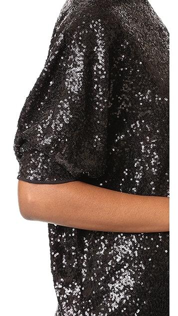 Victoria Victoria Beckham Sequin Tucked Sleeve Top