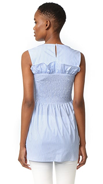 Victoria Victoria Beckham Smocked Sleeveless Top