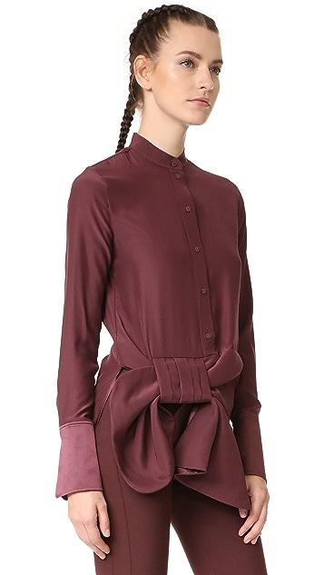 Victoria Victoria Beckham Asymmetrical Tux Bow Shirt